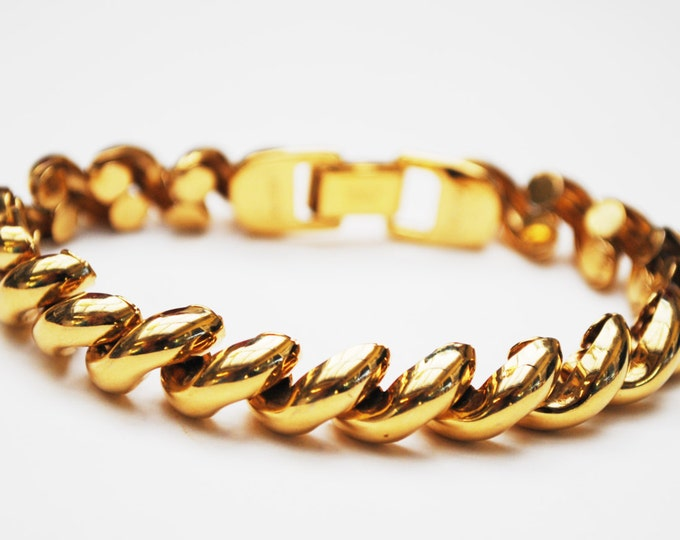 Napier Gold Bracelet - link Bracelet -signed- Tailored collection - San Marco style -gold plated - Book Piece
