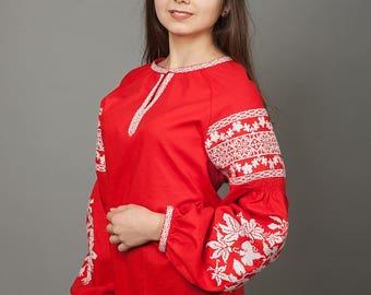 Women vyshyvanka. Traditional Ukrainian women's blouse. Ethnic sorochka shirt. Ukrainian clothes. Embroidered blouse cross-stitch. Ukraine