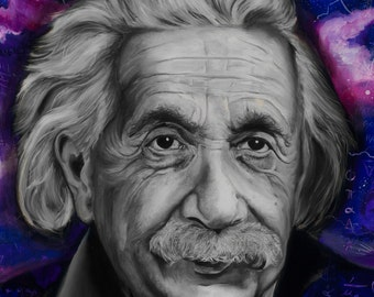 "Albert Einstein, Portrait - 5""x7"" Unframed Art Print by Jamie Rice, Pop Culture, Desk Art, Metaphysical, Fan Art, Science, Gift,"