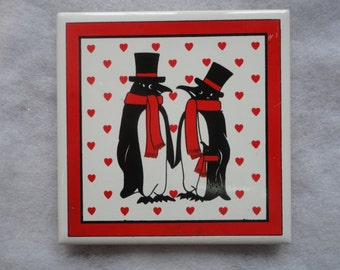 Vintage Penguins and Red Hearts Orient Tile, Penguins and Hearts Trivet, Valentine Day Tile, Valentine Day Trivet, Red Heart Trivet, Cute