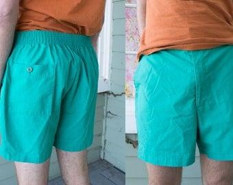 Vintage 80s 90s Teal Green Men's Shorts