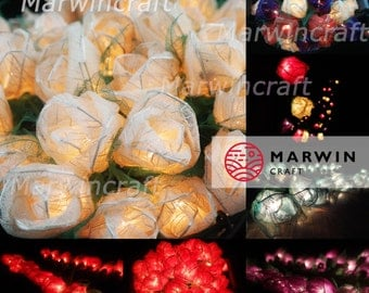 8 Colour Options / 35 Flowers Rose Fairy Lights String Home Accent Floral Party Patio Wedding Floor Table or Hanging Gift Home Decoration