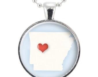 Arkansas State Necklace, I Love Arkansas Heart Necklace (0566S25MMBC)