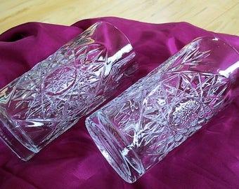 Libbey Hobstar Cut Crystal Barware Highball Heavy Crystal Glasses Set of 2 included Very Good Bar Supply  China Galore