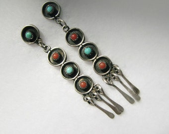 "Vintage SOUTHWESTERN/American Indian Dangle Earrings -- Sterling with Turquoise and Red Coral, 2-3/8"" Long, Pierced/Posts, Unsigned"