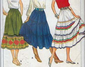 """Vintage 1980's Butterick 4260 Flared Skirt With/Without Tiers Sewing Pattern Size 12 Waist 26 1/2"""""""