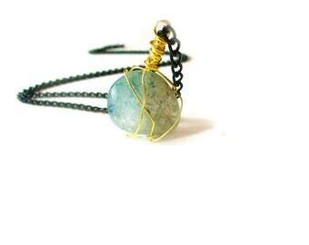 Mother's Day Gift - Wire Wrapped Crystal Necklace  - Necklaceses for Women - Women's Necklace - Gifts for Women - Teal Crystal Necklace