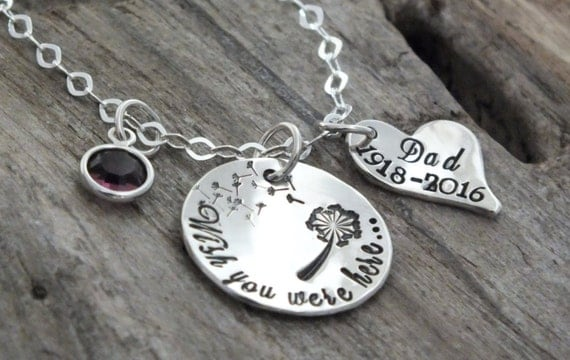 Memorial necklace - memory jewelry remembrance - dandilion - miss you - memory necklace - remembrance necklace