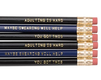 ADULTING IS HARD and Maybe Swearing Will Help pencil set. Funny pencils. Gifts for grads. Back to school supplies. Sarcastic pencil set.