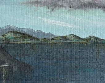 Horizontal wall art, original landscape painting, dark landscape, seascape painting, reflections, horizons