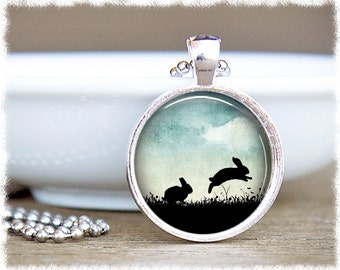 Rabbit Necklace • Bunny Jewelry • Hopping Rabbits • Rabbit Jewelry • Bunny Gift • Pet Lover Gift