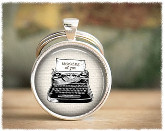 Long Distance Relationship • Going Away Gift • Mens Gift • Distance Friendship • Mens Keychain • Typewriter Keyring