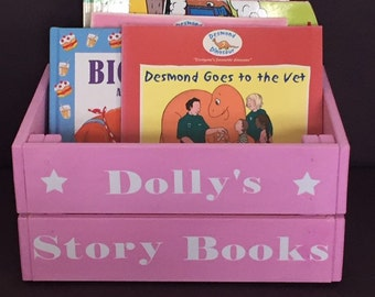 Personalised children's wooden books/toys storage box/crate