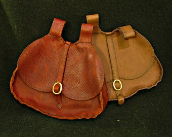 Medieval Large Belt Pouch, Historical leather belt bag, buckle closure. Renaissance, Costume, LARP