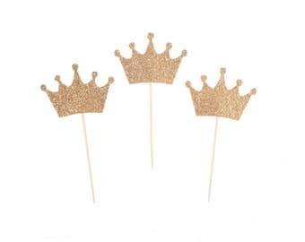 Gold Crown / Silver Crown Cupcake Toppers - Princess Cupcake Toppers - Prince Cupcake Topper -  Princess Party - Prince Party