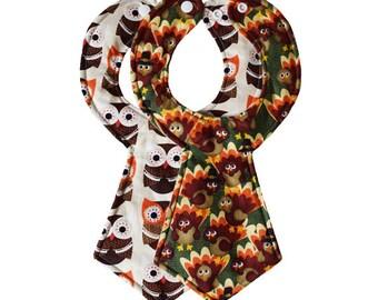 Thanksgiving Baby Necktie Bib Set of 2