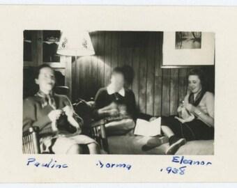 Vintage Snapshot Photo: Pauline, Norma & Eleanor Knitting by Lamplight, 1938 (612525)