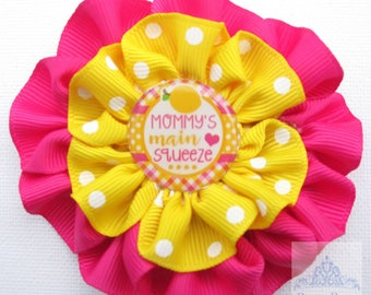 pink lemonade,no slip hair clip,hair bows, hair accessories,infant headbow,newborn hairpiece,baby girl hair,yellow and pink,mommys main