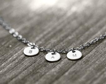 TRIPLE necklace with initials | silver