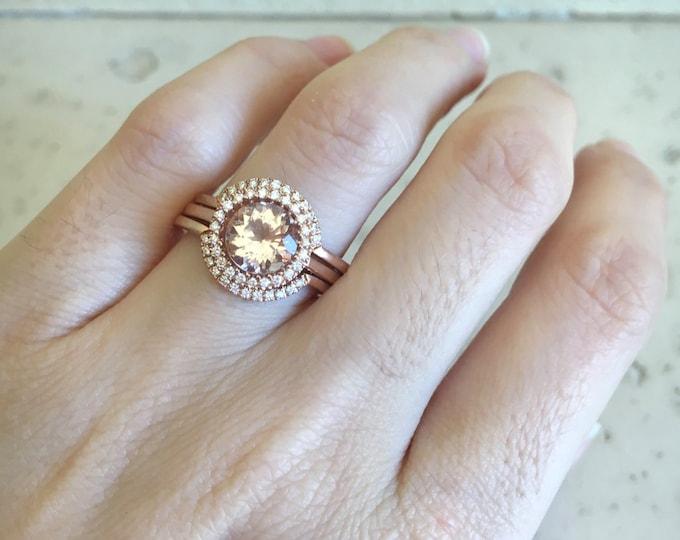 Round Morganite Engagement Ring- Rose Gold Morganite Engagement Ring Set- Morganite Bridal Set Ring- Morganite Halo Wedding Ring Set