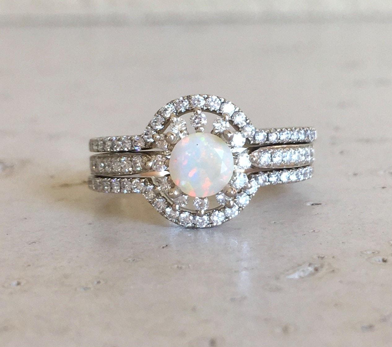 Rose Gold Opal Engagement Ring Set  Genuine Opal Engagement Ring  14k  Floral Engagement Ring  Opal Bridal Set Wedding Ring Opal Diamond Ring
