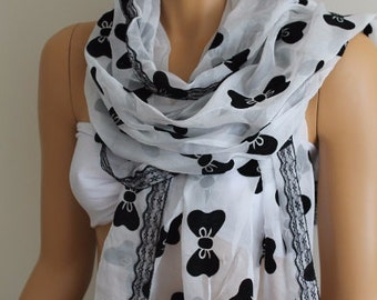 Christmas Gift Holiday Gift Scarf, Elegant White Black Bow Print Scarf Lace Trim Scarves Tulle Shawl Bridal Accessories Bridesmaid gift