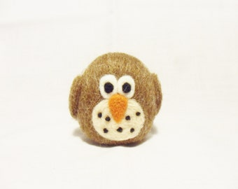 Needle Felted Owl -  miniature owl figure - shetland & merino wool - wool felt owl - brown owl - pocket owl - wooly owl