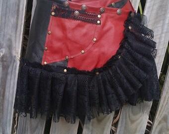 """festival belt woodland belt,bohemian belt, gypsy belt, patchwork  quality leather  belt/skirt.....36"""" to 44"""" hip or waist.."""