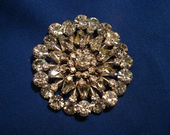 "Large Star Burst or Snowflake Round Clear Rhinestone Brooch, 2.25"""