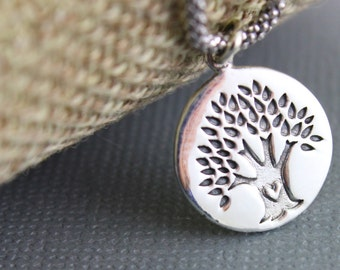 Sterling Silver, Tree Of Life Charm / Pendant with Open Jump Ring,  Sweet Component Finding, 1 Piece, (SS/CH4/CR102)
