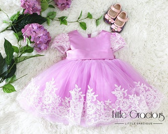 Lavender pageant dress Toddler Easter Dress in Lace, Baby Girl Dress, Infant Pageant Dress LG018