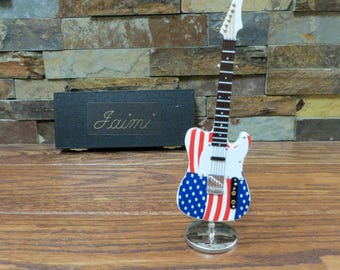Mini American Flag Electric Guitar w/ Personalized Case - Music Gift- Instrument