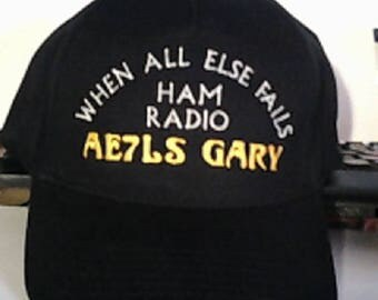 HAM RADIO Hat  -  Custom EMBROIDERED in CrushProof Box with  Callsign & Name  H9
