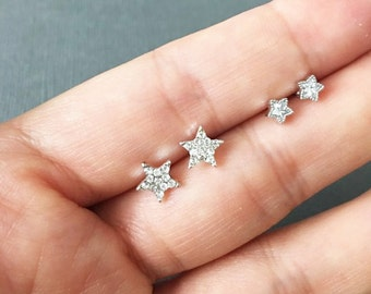 Tiny Star Stud Earrings, Dainty Star Jewelry, Star Earrings, Star stud earrings, muse411, Star studs earrings, 925 silver post earrings