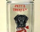 Black Labrador Retriever, Dog Treat Jar, Custom Pet Portrait, Painted Glass Jar, Custom Dog, Canister, Handpainted Pet, Dog Scarf, Animal