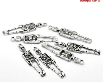 10 pieces Antique Silver Skeleton Charms