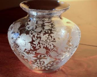 Vintage Cambridge Glass Vase - Wildflower Etch
