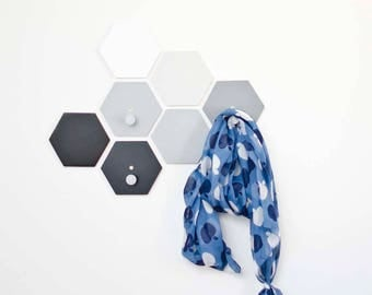 Entryway coat hooks - Bedroom wall hooks with Metal Pegs - Ombre Hexagon clothes hooks - Honeycomb set wall decor- Moving to New house gift