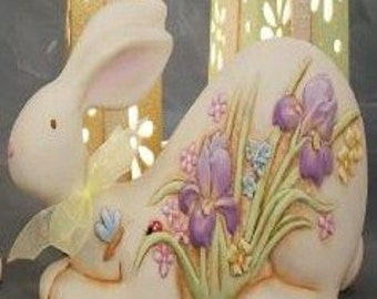 Hand painted laying Easter bunny
