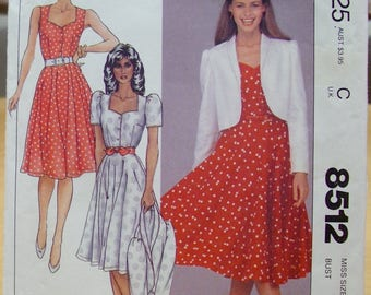 FREE SHIPPING! McCall's 8512 dress and jacket sewing pattern Size 12 Uncut