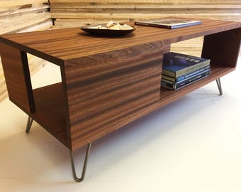 Fat Boy mid century modern coffee table with storage, featuring sapele mahogany with hairpin legs.