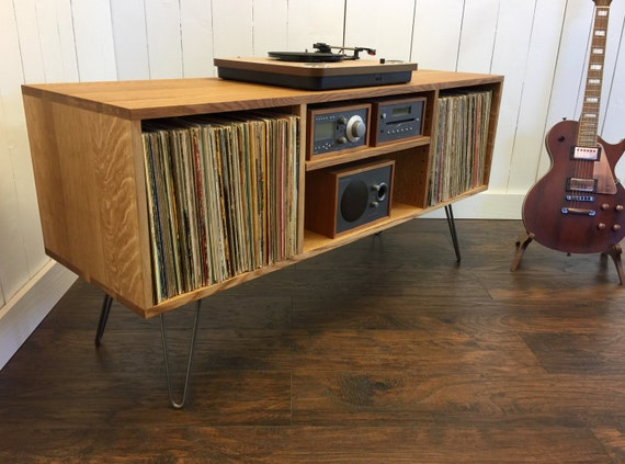 Mid century modern record player console turntable stereo