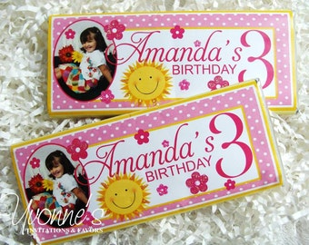 Sunshine Birthday Candy Bar Wrappers - Chocolate Bar Favor - Yellow and Pink - For Little Girl's 1st, 2nd, 3rd, 4th, 5th, 6th, 7th Birthday