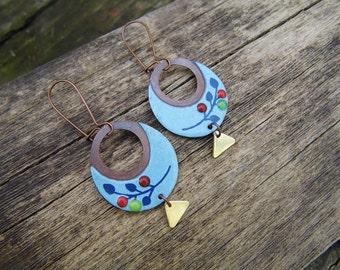 Spring night  - round blue enamel earrings