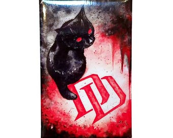 Daredevil Kitten Magnet: Watercolour Marvel Black Cat