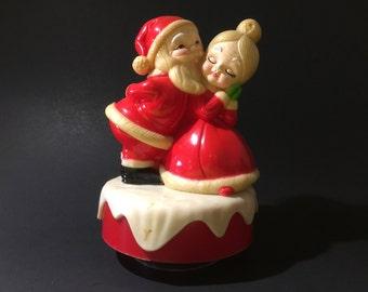 Vintage Santa and Mrs. Claus Figurine Christmas Music Box
