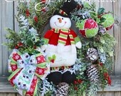 Cheerful Snowman Wreath, lime and red Christmas Wreath, Rustic Winter Floral Swag