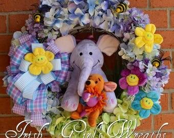 MADE TO ORDER Heffalump and Roo Best Friends Wreath, Disney Wreath, Nursery Wreath, Lumpy, Child Wreath