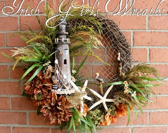 SALE Summer Lighthouse and Starfish Coastal Landscape Wreath, Nautical decor, Pelican, Fall Coastal Wreath, autumn wreath