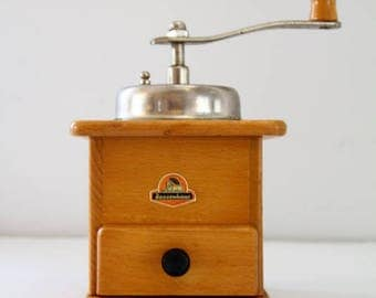 Vintage Zassenhaus West Germany Coffee Grinder Mill Steel/Wood Box Kitchen Decor